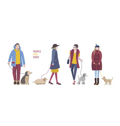 people walking with dogs colorful flat vector image
