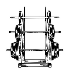 sport equipment stand barbell engraving vector image vector image