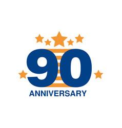 90th anniversary colored logo design happy vector image