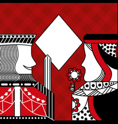 Casino poker queen and king diamond card game red vector