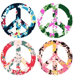 floral peace set vector image vector image
