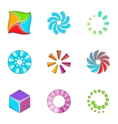 Loading indicators icons set cartoon style vector image