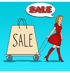 Pop Art Woman with Giant Shopping Bag on Sale vector image vector image