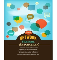 social network media and communication in vintage vector image
