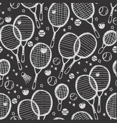 sports tennis and badminton seamless pattern vector image