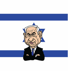Benjamin netanyahu with israel flag background vector