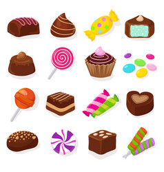 cartoon black chocolate sweet candies and vector image vector image