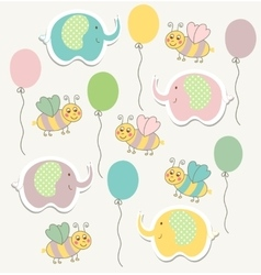 Colorful doodle templat for child baby shower vector image vector image