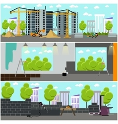 Construction site concept banner Building vector image