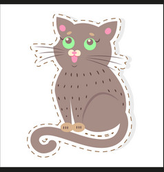cute cat cartoon flat sticker or icon vector image