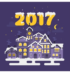 flat style of christmas winter night city vector image vector image