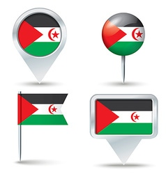 Map pins with flag of Western Sahara vector image