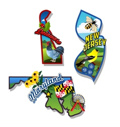 New Jersey Delaware Maryland retro state facts vector image