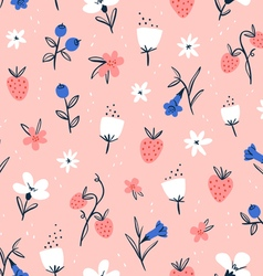 Abstract flowers and berries on pink vector image vector image