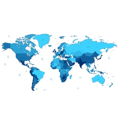 Blue detailed World map vector image vector image