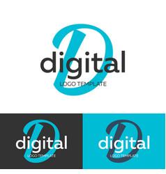 digital logo letter d logo logo template vector image
