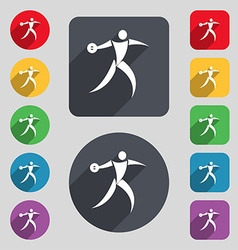 Discus thrower icon sign A set of 12 colored vector image vector image