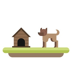 Dog standing in front of its kennel Dog house Pet vector image