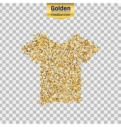 Gold glitter icon of tee shirt isolated on vector