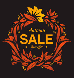 hand drawing autumn floral label at dark backrop vector image vector image