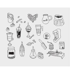 Hand drawn sketch doodle vintage simple coffee vector image