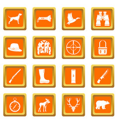 hunting icons set orange vector image