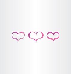 purple heart icons set love symbol vector image