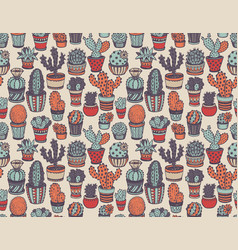 seamless pattern with hand drawn cactus vector image