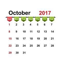Simple calendar 2017 year october month vector