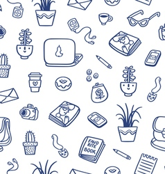 Whats on my table deep blue ink seamless pattern vector image vector image