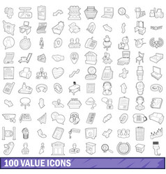 100 value icons set outline style vector image