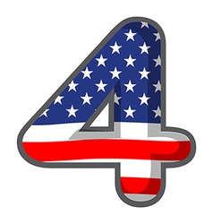 A number four with the USA symbols vector