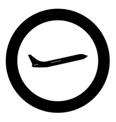 airplane black icon in circle isolated vector image