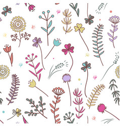 autumn flowers seamless pattern floral background vector image