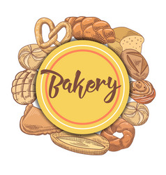 bakery hand drawn background with bread and loaf vector image