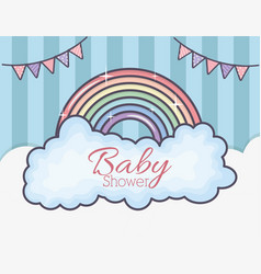 bashower rainbow clouds bunting stripes vector image