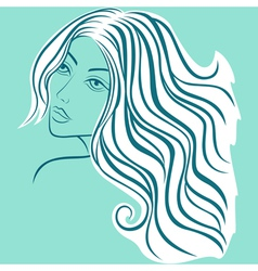 Beautiful blond women sketching head vector image