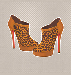 Beautiful pair fashion leopard shoes vector