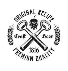 beer emblem with two crossed bottle openers vector image