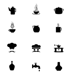 Black Icon Set kitchen vector image