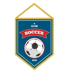 Blue soccer pennant isolated white vector image