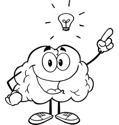 Brain with a lightbulb idea vector
