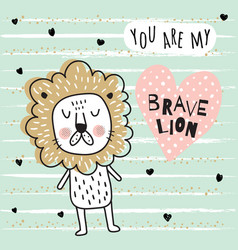 brave lion vector image