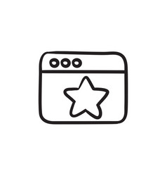 Browser window with star sign sketch icon vector