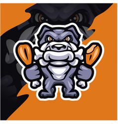 bulldog esport mascot logo design vector image