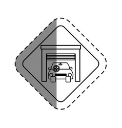 Car vehicle in garage isolated icon vector