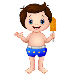 Cartoon boy in blue pant with a corn vector