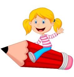 Cartoon girl riding flying pencil vector image
