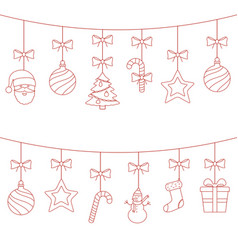 christmas hanging thin line ornaments vector image