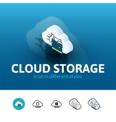 Cloud storage icon in different style vector